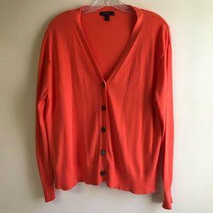 J Crew black label  orange long sleeve cardigan S